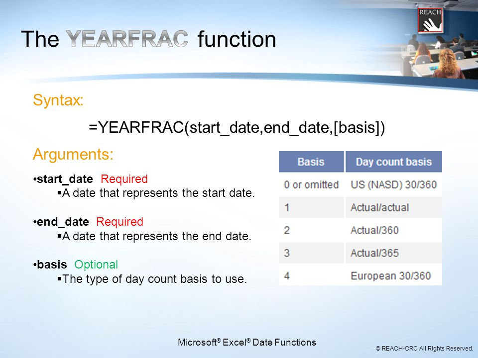 The YEARFRAC function Syntax: =YEARFRAC(start_date,end_date,[basis])
